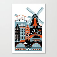 amsterdam Canvas Prints featuring Amsterdam by koivo