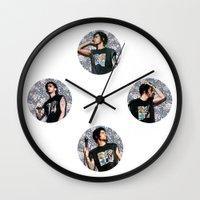 zayn malik Wall Clocks featuring Zayn Malik + Flowers by Ladsandstuff