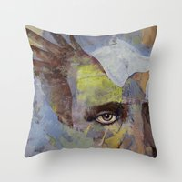 poe Throw Pillows featuring Poe by Michael Creese