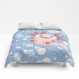 Cute Axolotl and The Bubbles Comforters