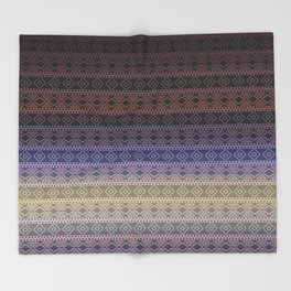 Antique Faded Ombre Shaded Rainbow Aztec Geometric Tribal Pattern Throw Blanket