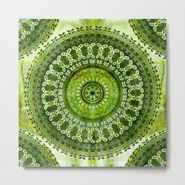 Vintage Lime Mandala Metal Print