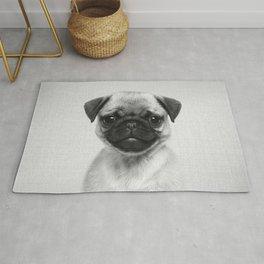 Pug Puppy - Black & White Rug