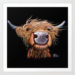Scottish Highland Cow ' DASHING DOUGAL ' by Shirley MacArthur Art Print