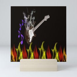 Flaming Guitar Mini Art Print