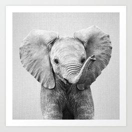 Baby Elephant - Black & White Art Print