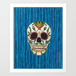 DAY OF THE DEAD - ICE BLUE VOODOO Art Print