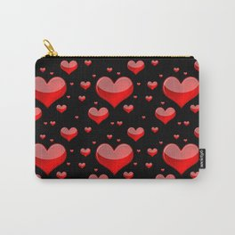 Hearts Red and Black Carry-All Pouch