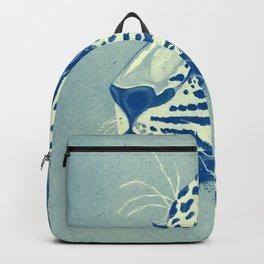 Leopard Turquoise feline glance Backpack