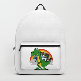 Unicorn Riding T-Rex Dinosaur Rainbow Boys Backpack
