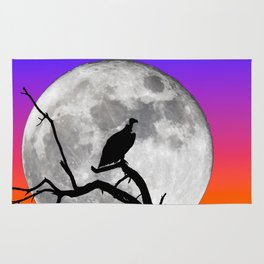 Vulture Silhouetted Against Supermoon Rug