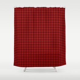 Mini Berry Red and Black Rustic Cowboy Cabin Buffalo Check Shower Curtain