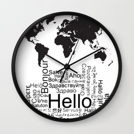 Say Hello in different languages world map ! Wall Clock