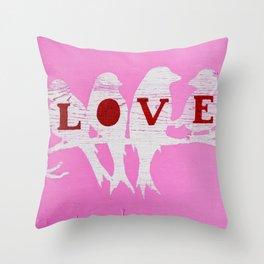 Pink Love Birds Throw Pillow