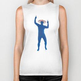Humorous Man In Blue Bodysuit With Sombrero Biker Tank