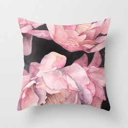 Peonies on Dark Background Throw Pillow