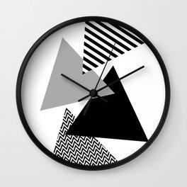 Geometric - Triangles, Black & White Wall Clock