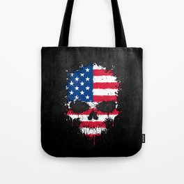 Flag of The United States on a Chaotic Splatter Skull Tote Bag