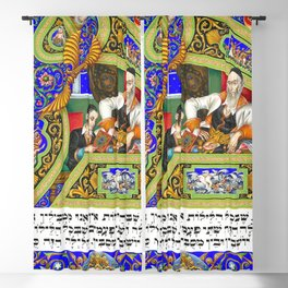 12,000pixel-500dpi - Arthur Szyk - The Haggadah, The Four Questions - Digital Remastered Edition Blackout Curtain