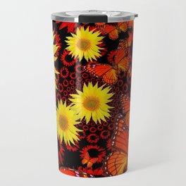 Lemon Yellow Sunflowers Monarch Butterflies Pattern Art Travel Mug