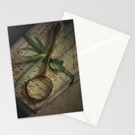 Old style loupe and vintage letters Stationery Cards