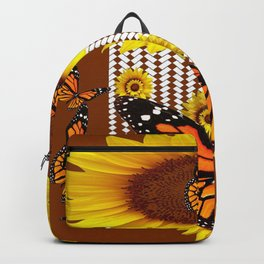 FANCIFUL  MONARCH BUTTERFLIES & SUNFLOWERS COFFEE BROWN Backpack