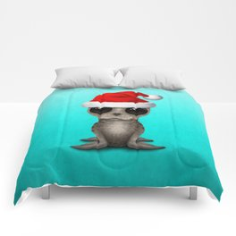 Christmas Seal Wearing a Santa Hat Comforters