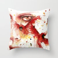cardinal Throw Pillows featuring Cardinal  by Chelsea Brouillette