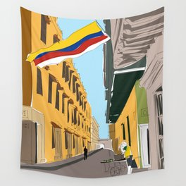 Cartagena de Indias, Colombia Travel Poster Wall Tapestry