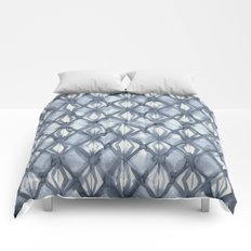 Braided Diamond Indigo Blue on Lunar Gray Comforters