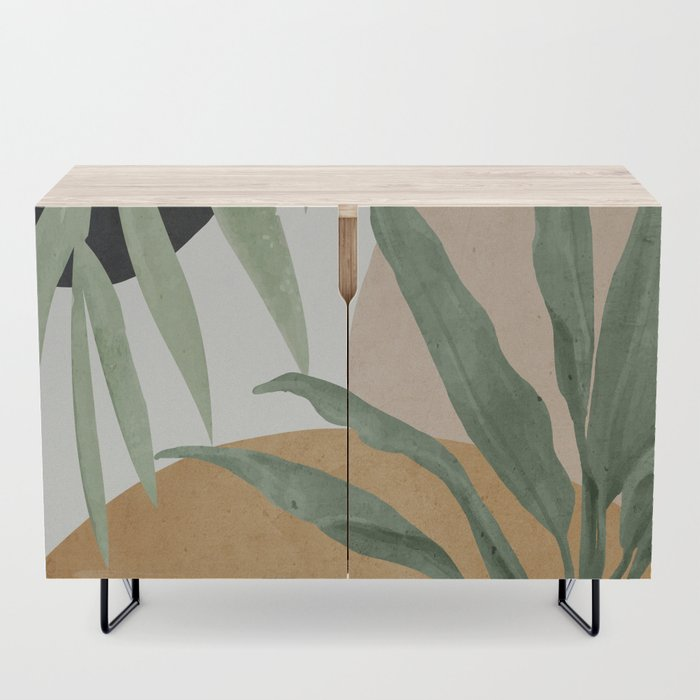 Abstract Art Tropical Leaves 4 Modern Credenza Cupboard by Thingdesign - Black - Birch
