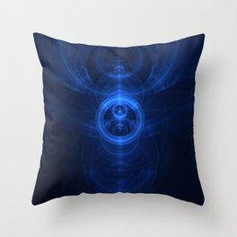 Symbol of Purpose - Beautiful Blue Blown Glass Sapphire Fractal Circles Throw Pillow