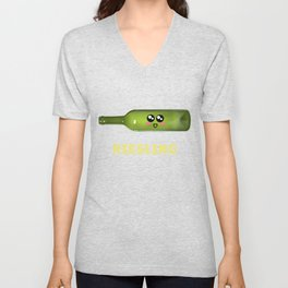 Everything Happens For A Riesling Funny Wine Pun Unisex V-Neck