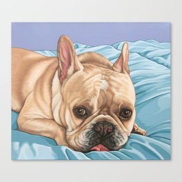 Sweet and Funny French Bulldog Painting, Frenchie Dog Portrait, Fawn French Bulldog Art Canvas Print