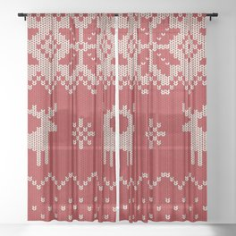Lovely christmas knitting with deer and snowflakes illustration pattern Sheer Curtain