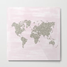 Pink and silver glitter world map Metal Print