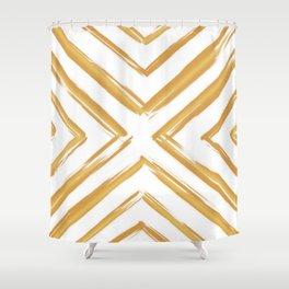 Minimalistic Gold Paint Brush Triangle Diamond Pattern Shower Curtain