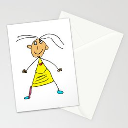 Girl With The Yellow Dress And Purple Stocking Stationery Cards
