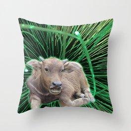 Space Cow Boy Throw Pillow