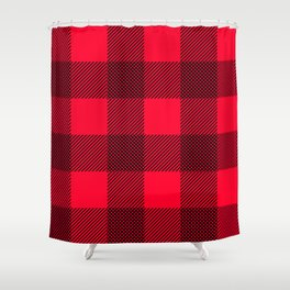 DigiPlaid Red Shower Curtain