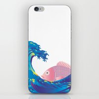 hokusai iPhone & iPod Skins featuring Hokusai Rainbow & Jpanese Snapper  by FACTORIE