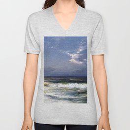 Moonlit Beach Seascape No. 1 landscape painting by Thomas Moran Unisex V-Neck