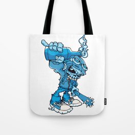 Anarchy Skeleton -  Iris Blue bottle fire skull Tote Bag