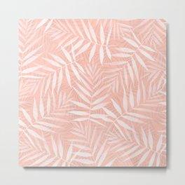 Elegant tropical white palm leaves paint Metal Print