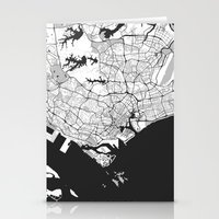 singapore Stationery Cards featuring Singapore Map Gray by City Art Posters