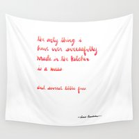 cooking Wall Tapestries featuring Carrie Bradshaw Cooking quote by Caley Ostrander