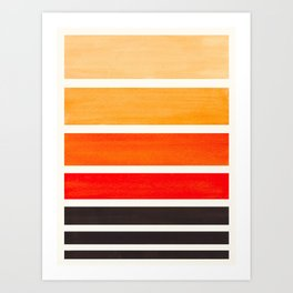 Orange Minimalist Watercolor Mid Century Staggered Stripes Rothko Color Block Geometric Art Art Print