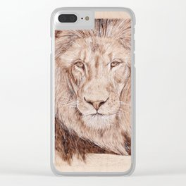 Lion Portrait - Drawing by Burning on Wood - Pyrography Art Clear iPhone Case