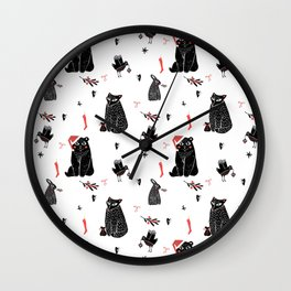 Christmas black and white animals Wall Clock