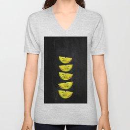 Lemon Slices Black Unisex V-Neck
